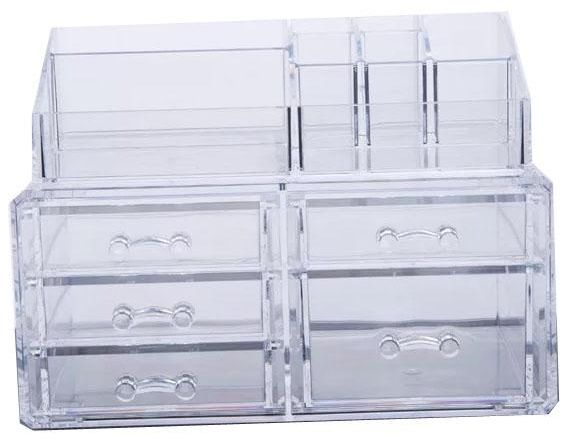 Makeup Organizer Large Capacity Cosmetic Storage Box Make Up Jewelry Watches Display Cube Case 2 Parts With 5 Drawers