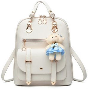 Women s Backpack Purse Pu Leather Ladies Casual Shoulder Bag School Bag for  Girls-White 02a606dddde91