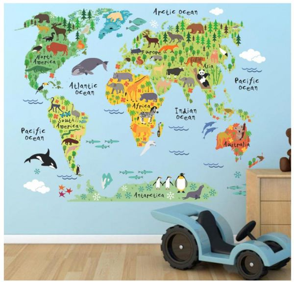 Animal World Map Bedroom Sofa Background Wall Sticker Souq Uae