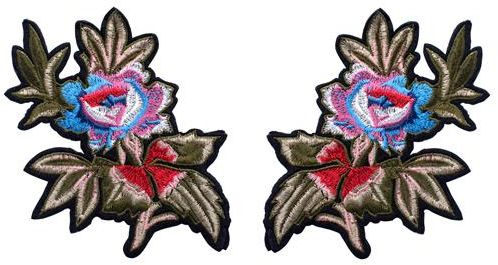 2Pcs Flowers Applique Embroidery Decoration  Iron on patches DIY