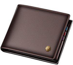 496f12c7ca82 Men business stylish genuine leather short wallet purse card money clip  brown