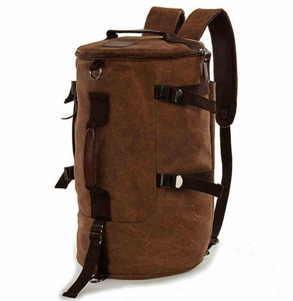 198240cb51d2 Men women Fashion Big Cylindrical backpack Canvas Leisure Travel Bag  computer bag School