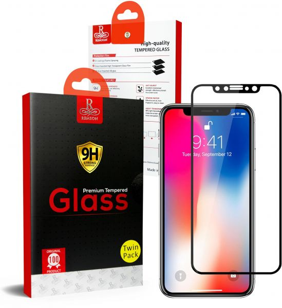 Iphone X Remson 5D Full Coverage Tempered Glass Screen Protector TWIN PACK  - Black