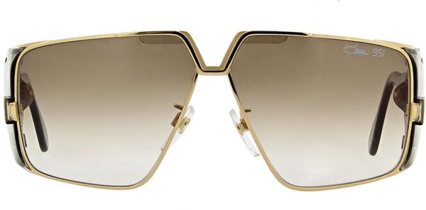 Cazal 951 Sunglasses Gold Tone Frame With Brown Gradient Lens Unisex