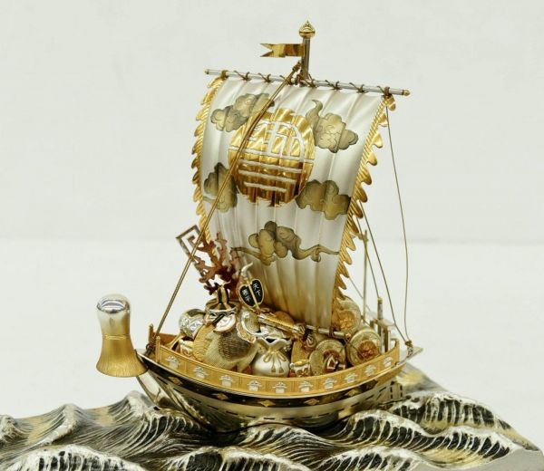 Treasure Ship Made Of Pure Sterling Silver 960 Made In Japan With