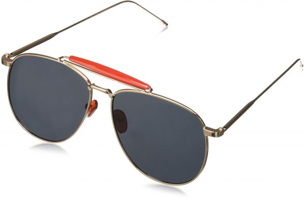 7c0f9c1f2 zeroUV Oversize Metal Double Nose Bridge Ultra Slim Temple Flat Lens  Aviator Sunglasses, Gold Red/Smoke, 57 mm