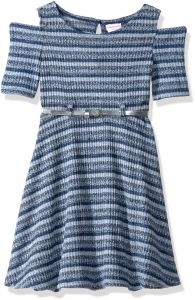 167e30c9847c56 Youngland Big Girls  Knit Skater Dress With Belt Detail