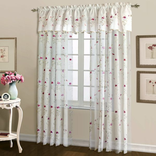 United Curtain Loretta Embroidered Sheer Window Curtain Panel 52 By