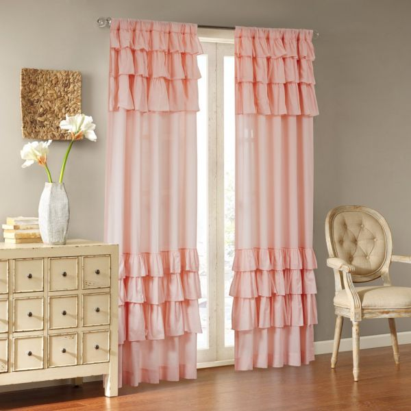 Pink Curtains For Living Room Cottage Country Rod Pocket Ruffle Bedroom Solid Anna Voile Window 50x63 1 Panel Pack