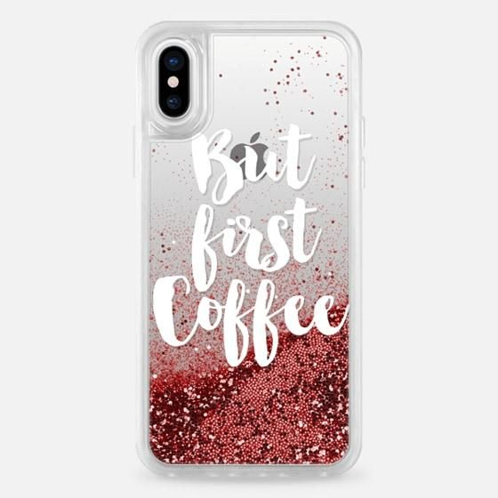 CASETIFY Glitter Case Rose Gold But First Coffee for iPhone X