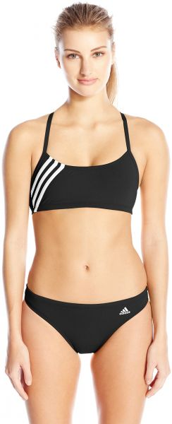 cfaf95e8e9 adidas Women s Solid Three Stripe Two Piece Bikini Set