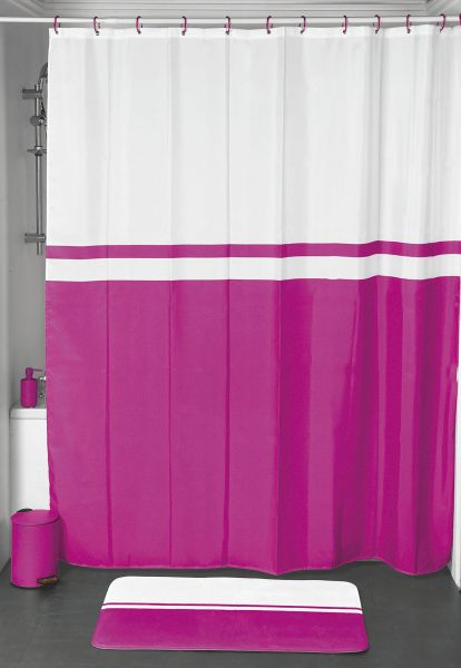EVIDECO Bi Color Polyester Shower Curtain With Velvet Effect Pink