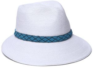 1f2bab39fa8708 Physician Endorsed Women's Regent Asymmetrical Beaded Trim Sun Hat, Rated  UPF 50+ for Max Sun Protection, White/Turquoise, Adjustable Head Size