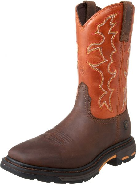 Ariat Men\u0027s Workhog Wide Square Toe Work Boot, Dark Earth/Brick, 8 D US