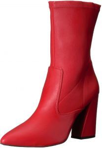 a7b6af5f520f Kenneth Cole New York Women's Galla Pointed Toe Bootie with Flared Heel  Stretch Shaft Ankle Boot, Red, 5 Medium US