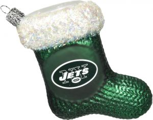Old World Christmas New York Jets Stocking Glass Blown Ornament 9d6b7ea34