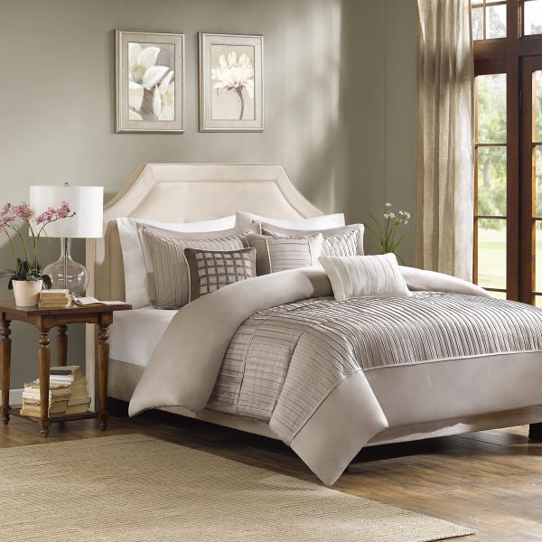 Madison Park Trinity Duvet Cover King Cal King Size Taupe Pieced
