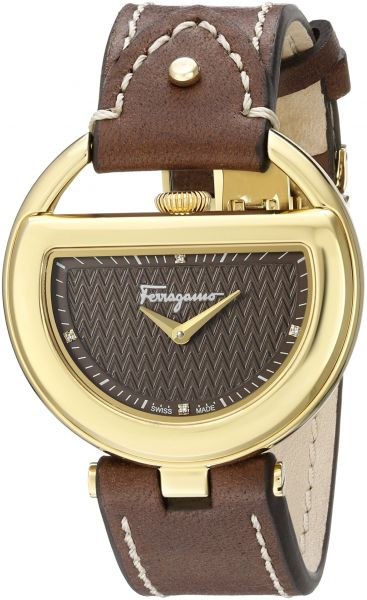 Salvatore Ferragamo Women s FG5060014 Gold Ion-Plated Stainless Steel Watch  with Diamond Markers 369ff6cea7