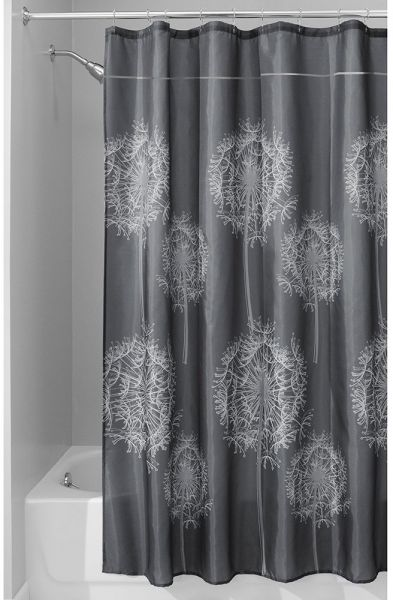 InterDesign Dandelion Fabric Shower Curtain 72 X Charcoal
