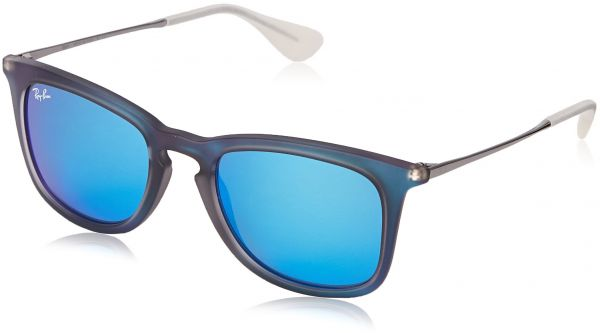 0da94388ad2 Ray-Ban INJECTED MAN SUNGLASS - SHOT BLUE RUBBER Frame LIGHT GREEN MIRROR  BLUE Lenses 50mm Non-Polarized