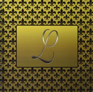 777images Designs Monograms - Elegant letter L embossed in gold frame over  a black fleur-de-lis pattern on a gold background - Drawing Book 12x12