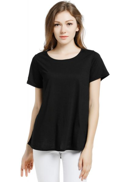 f20885c0a5bca Blooming Jelly Women s Scoop Neck Short Sleeve Loose Wrinkle Viscose T Shirt  Blouse Tops (Medium)