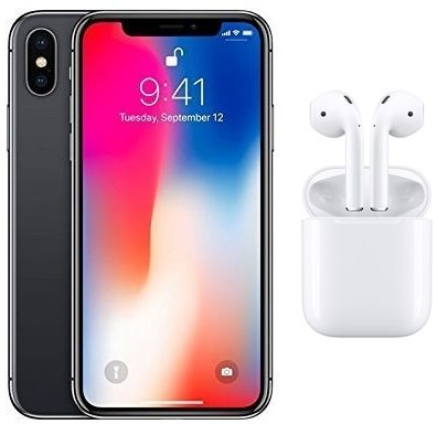 Apple iPhone X without FaceTime - 64GB, 4G LTE, Space Grey with Apple Wireless AirPods, White - MMEF2