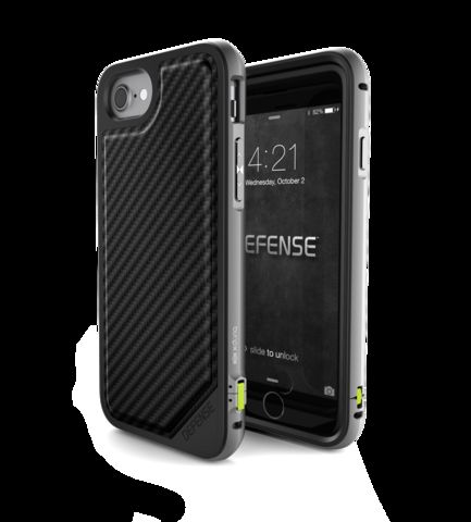 save off 2f261 e8361 X- Doria Defense Lux, Back Cover Mobile Case, For Iphone 7/8, Carbon Fiber,  Black & Silver
