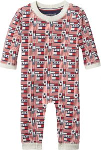 09a7d36d Tommy Hilfiger Flags Printed Coverall for Newborn Baby - 9 Months, Natural  Heather