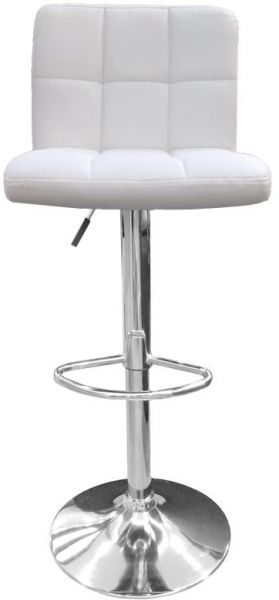 Neo Front White Color Faux Leather And Metal Base Adjustable Bar