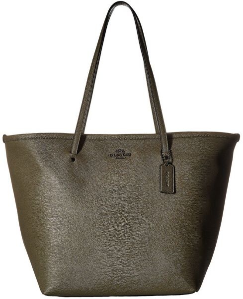 Coach Crossgrain Large Street Tote Bag For Women Leather Olive