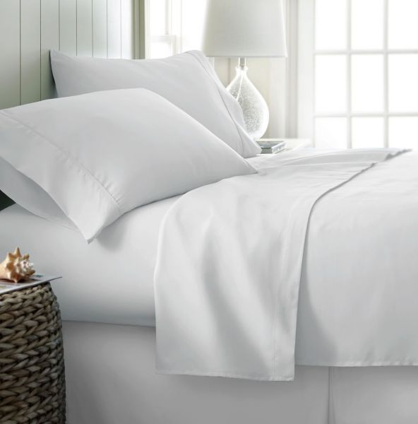 Simply Soft 4 Piece Ultra Soft Bed Sheet Set California King White  SS 4PC CALKING WHITE