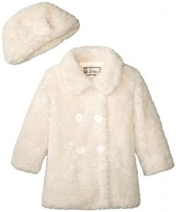 787ddb51b1f8 Widgeon Girls' Faux Fur Double Breasted Coat and Hat, Shc/Cream Sherpa, 6