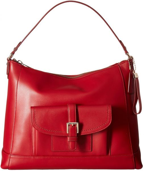 Coach Charlie Hobo Bag For Women Leather Red