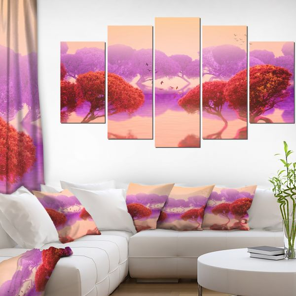 Souq | Red and Purple Japanese Gardens Large Landscape on Canvas Art ...