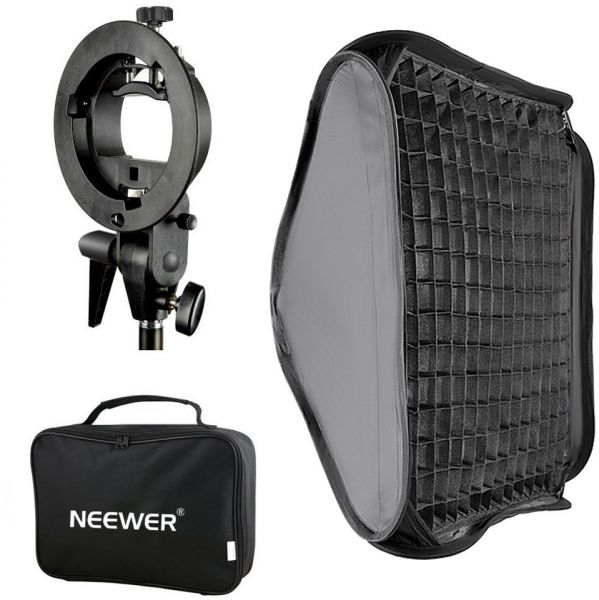Neewer 24x24 Inches Bowens Mount Softbox With Grid And S Type Flash Bracket For Nikon SB 600 800 900 910 Canon 380EX 430EX II550EX580EX II