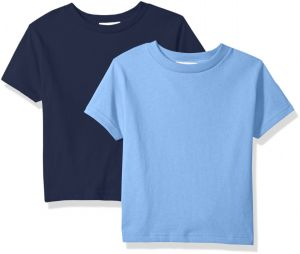 073b7d68 Clementine Baby Girls' Little Boys' Everyday Toddler T-Shirts Crew  2-Pack,Navy/Carolina Blue, 5/6