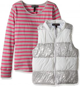 97636d32 Derek Heart Big Girls' 2 Piece Set Puffy Vest with Sequin Trim and Long  Sleeve Stripe T-Shirt, Lunar Rock/Vivid Fuchsia, m10/12