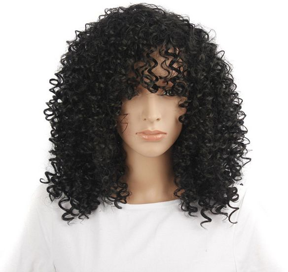 Super Cool African Hairstyle Black Explosive Hair Wig Curly And Wavy