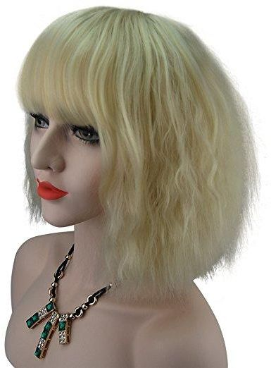 Short Fluffy Bob Kinky Straight Hair Wigs With Bangs Synthetic Heat