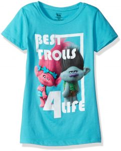 d4a92e327 Trolls Girls' Big Girls' Best 4-Life Short Sleeve T-Shirt, Tahiti Blue,  XL-16/18