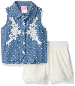 621c946021 Nannette Toddler Girls  2 Piece Printed Chambray Tie Front Top and Floral  Lace Short