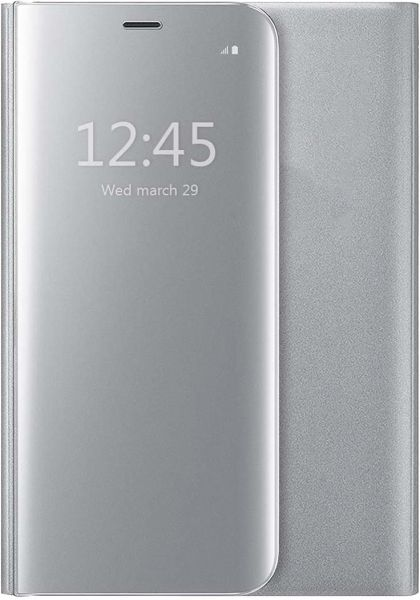 on sale 77051 8e613 iPhone 7 Plus Protective Case Cover iPhone 8 Plus Flip Case Clear View  Standing Mirror Case, Silver