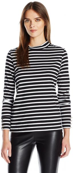 8a200d1d08526 Trina Turk Women s Jenner Stripe Jersey Long Sleeve Funnel Neck