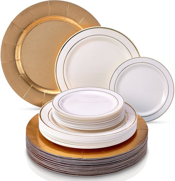 Souq | Golden - Silver Glare Collection Elegant China Disposable ...
