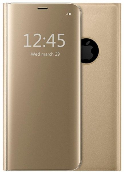 online store cc27c a96a4 iPhone X Protective Flip Case Shockproof Mirror Case Clear View Standing  Case Cover, Gold
