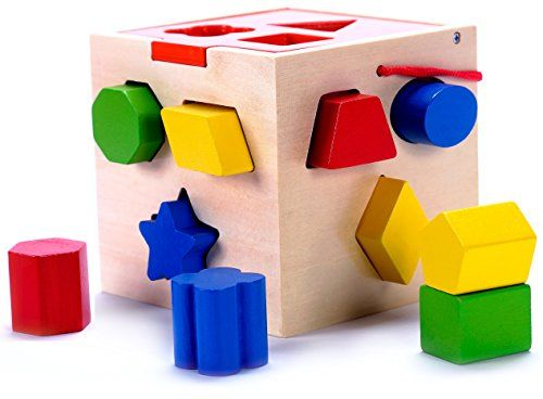 aa9125036de2 Classic Wooden Shape Sorter Toy w  Hinged Lid   Carrying Strap - 10 ...