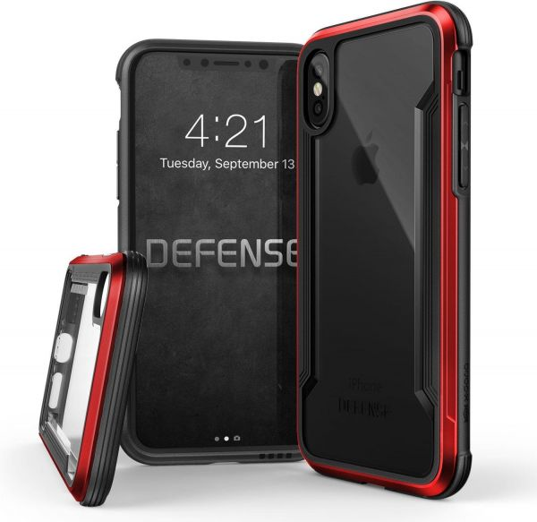 iPhone X Case, X-Doria Defense Shield Series - Military Grade Drop Tested,  Anodized Aluminum, TPU, and Polycarbonate Protective Case for Apple iPhone