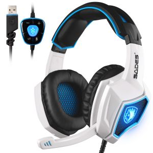 ce78b71c5 Updated SADES Spirit Wolf 7.1 Surround Stereo Sound USB Computer Gaming  Headset with Microphone,Over-the-Ear Noise Isolating,Breathing LED Light  For PC ...