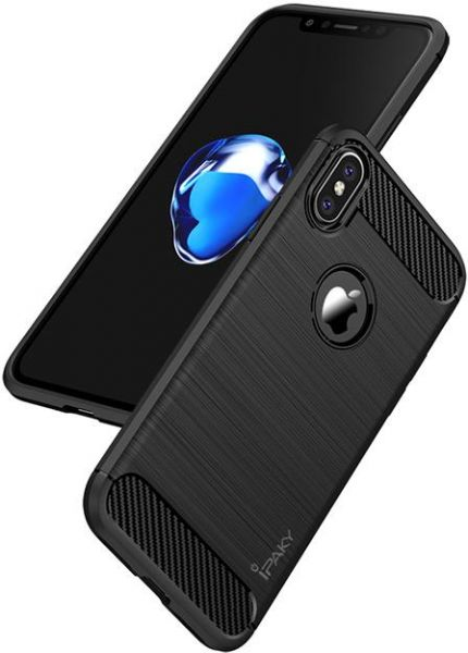 Original IPAKY Coque for iPhone X Cover Silm Luxury Brushed TPU Case  IPhoneX - Black